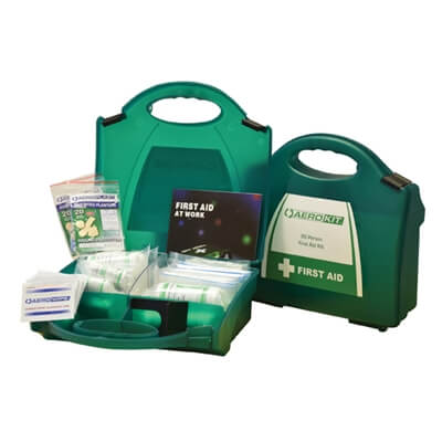 Image showing two premium 20 person HSE First Aid Kits, one closed to show the size of the case and one open to show the kit's contents.