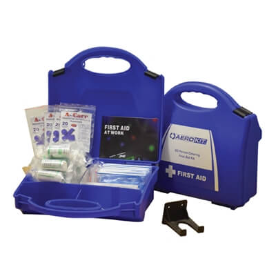 Image showing two premium 20 person HSE Catering First Aid Kits, one closed to show the size of the case and one open to show the kit's contents.