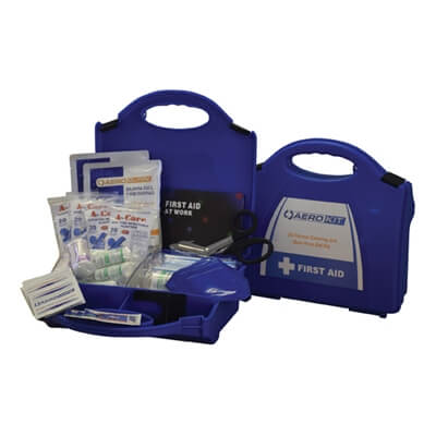 Image showing two premium 20 person Catering & Burns First Aid Kits, one closed to show the size of the case and one open to show the kit's contents.