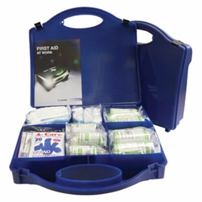 Image of an open Premium 50 Person HSE Catering First Aid Kit to show the kit's contents.