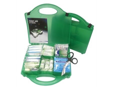 Image showing two premium medium First Aid Kits, one closed to show the case size and the other open to show the kit's contents.