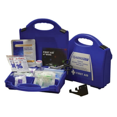 Image showing two Premium Small Catering First Aid Kits, one closed to show the case size and the other open to show the kit's contents.
