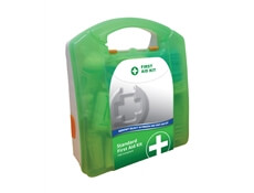 Image of a 10 Person Select HSE Compliant First Aid Kit in a green box.