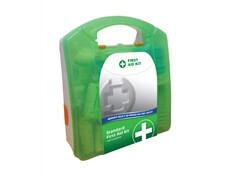 Image of a 20 Person Select HSE Compliant First Aid Kit in a green box.