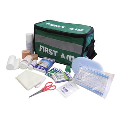 Image showing a Standard Sports First Aid Kit Haversack with all of the Kit's contents emptied out in-front.