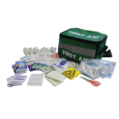 Image showing a Medium Sports First Aid Kit Haversack with all of the Kit's contents emptied out in-front.