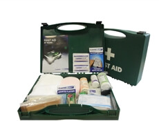Image showing two Sports First Aid Kits In Cases, with one case closed to show its size and the other open to show the Kit's contents.