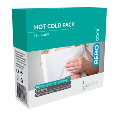 Image displaying a boxed Hot/Cold Pack with Cotton Cover.